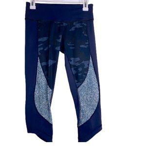 Lululemon Crop Leggings Navy Blue Camouflage 6